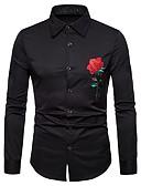 baratos Camisas Masculinas-Homens Camisa Social Vintage / Exagerado Bordado, Floral