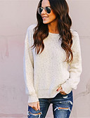 cheap Women's Sweaters-Women's Daily Solid Colored Long Sleeve Regular Pullover, Round Neck Cotton Beige M / L / XL