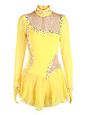 cheap Ice Skating Dresses , Pants & Jackets-Figure Skating Dress Women's / Girls' Ice Skating Dress Daffodil Spandex Rhinestone High Elasticity Performance Skating Wear Handmade