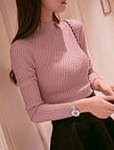 preiswerte Damen Pullover-Damen Ausgehen Langarm Pullover - Solide Rundhalsausschnitt