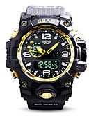 cheap Sport Watches-Men's Sport Watch Digital Watch Digital 30 m Water Resistant / Water Proof Calendar / date / day Stopwatch Silicone Band Analog-Digital Luxury Casual Black / Yellow - Blue / Black Black / Gold Black