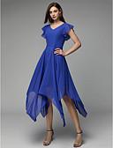 povoljno Maturalne haljine-A-kroj V izrez Asimetričan kroj Šifon Koktel zabava Haljina s Falte po TS Couture®