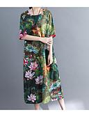 tanie Sukienki-Damskie Wzornictwo chińskie Swing Sukienka - Kwiaty Do kolan