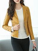 cheap Women's Leather & Faux Leather Jackets-Women's Daily / Work Spring &  Fall Short Leather Jacket, Solid Colored Notch Lapel Long Sleeve PU Black / Yellow XL / XXL / XXXL