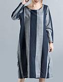 povoljno Majica s rukavima-Žene Osnovni Majica Haljina Prugasti uzorak / Color block Midi