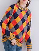 povoljno Ženski džemperi-Žene Osnovni Pullover Color block / Karirani uzorak