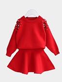 זול סטים של ביגוד לבנות-סט של בגדים שרוול ארוך אחיד בסיסי בנות ילדים