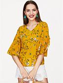 abordables Camisas para Mujer-Mujer Blusa, Escote en Pico Floral / manga de la llamarada