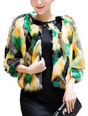 cheap Women's Fur & Faux Fur Coats-Women's Basic Fur Coat - Color Block
