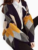 ieftine Pantaloni de Damă-Pentru femei Zilnic De Bază Bloc Culoare Manșon Lung Regular Cardigan, În V Toamnă Roșu-aprins / Bleumarin Mărime unică