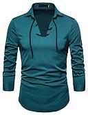 levne Pánské košile-Pánské - Jednobarevné Práce Business / Základní Košile Štíhlý Námořnická modř L / Dlouhý rukáv