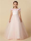 Χαμηλού Κόστους Φορέματα για κορίτσια-Πριγκίπισσα Μακρύ Φόρεμα για Κοριτσάκι Λουλουδιών - Σατέν / Τούλι Αμάνικο Με Κόσμημα με Φτερά / Γούνα / Ζώνη / Κορδέλα με LAN TING BRIDE®