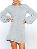 cheap Sweater Dresses-Women's Lantern Sleeve Sweater Dress - Solid Colored Mini