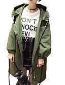 baratos Trench Coats e Casacos Femininos-Mulheres Diário Longo Casaco Longo, Sólido Com Capuz Manga Longa Algodão / Poliéster Preto / Verde Tropa / Khaki XL / XXL / XXXL
