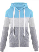 cheap Women's Blouses-Women's Going out Hoodie - Color Block Dark Gray XL