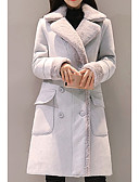 cheap Women's Coats & Trench Coats-Women's Daily Long Coat, Solid Colored Shirt Collar Long Sleeve Polyester Pink / Light gray L / XL / XXL