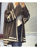 olcso Női pulóverek-Női Hosszú ujj Kardigán Csíkos V-alakú