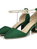 abordables Sostenes-Mujer Zapatos Ante Primavera Pump Básico Tacones Tacón Cuadrado Negro / Rojo / Verde