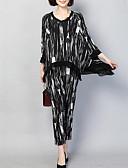 ieftine Bluză-Pentru femei Șic Stradă / Sofisticat Set - Bloc Culoare / Carouri, Pantaloni Plisată / Imprimeu