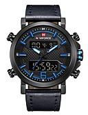 levne Vojenské hodinky-NAVIFORCE Pánské Sportovní hodinky Vojenské hodinky Digitální hodinky japonština Japonské Quartz Pravá kůže Černá / Hnědá 30 m Voděodolné Alarm Kalendář Analogové Digitální Luxus Módní - Černá / Bíl