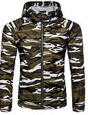 זול גברים-ג'קטים ומעילים-בגדי ריקוד גברים לבן ירוק צבא חאקי L XL XXL ג'קט בסיסי להסוות עם קפוצ'ון / שרוול ארוך