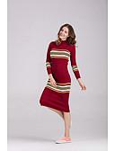 povoljno Ženske haljine-Žene Elegantno Puff rukav Shift / Majica Haljina Jednobojni Do koljena Crno-crvena