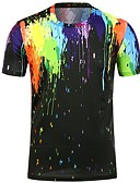 tanie Koszulki i tank topy męskie-T-shirt Męskie Podstawowy, Nadruk Bawełna Plaża Okrągły dekolt Szczupła - Kolorowy blok / Krótki rękaw