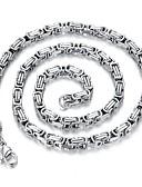 tanie Męskie spodnie i szorty-Męskie Pojedynczy Strand Długi Naszyjnik - Stal tytanowa Kreatywne Rock, Koreański Srebrny 60 cm Naszyjniki Biżuteria 1 szt. Na Codzienny