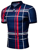 abordables Camisetas y Tops de Hombre-Hombre Básico Estampado Polo A Rayas / Bloques Negro y Rojo / Negro y gris