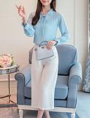 abordables Blusas para Mujer-Mujer Básico Acordonado Blusa Un Color