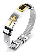 cheap Men's Tees & Tank Tops-Men's Classic Stylish Chain Bracelet Bracelet Bangles Cuff Bracelet - 18K Gold Plated, Stainless Cross, Creative Statement, Fashion, Elegant Bracelet Gold / Black For Daily Office & Career