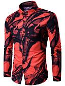 abordables Americanas y Trajes de Hombre-Hombre Básico Algodón Camisa Delgado Geométrico / Tribal Blanco L / Manga Larga