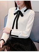 זול חולצה-אחיד עסקים / סגנון רחוב חולצה - בגדי ריקוד נשים פפיון / קפלים / שרוכים לכל האורך שחור ולבן