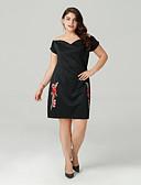 זול שמלות נשים-סירה רחב מעל הברך שמלה גזרת A רזה בגדי ריקוד נשים / קיץ