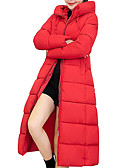 cheap Women's Down & Parkas-Women's Daily Active / Basic Pleated Solid Colored Plus Size Maxi Padded, Polyester Long Sleeve Winter Hooded Black / Red XL / XXL / XXXL
