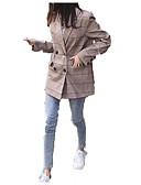 povoljno Bomber Jackets-Žene Rad Ulični šik Normalne dužine Jakna, Karirano / kockasto Odbačenost Dugih rukava Poliester Braon M / L / XL
