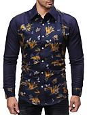 رخيصةأون فساتين مطبوعة-رجالي قميص أساسي بقع / طباعة ورد