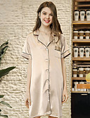 cheap Robes & Sleepwear-Women's Notch Lapel Satin & Silk Pajamas Solid Colored