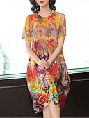 baratos Vestidos Estampados-Mulheres Básico Calças - Geométrica Estampado Arco-íris / Gola Redonda