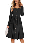 baratos Calças e Shorts Masculinos-Mulheres Evasê Vestido Sólido Médio Preto