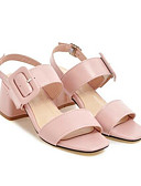 cheap Men's Belt-Women's Nappa Leather Spring Comfort Sandals Chunky Heel Blue / Pink