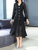 cheap Women's Dresses-Women's Daily / Going out Elegant Slim Trumpet / Mermaid Dress Lace / Cut Out Shirt Collar Fall Black M L XL