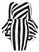 baratos Camisas Femininas-Mulheres Elegante Tamanhos Grandes Delgado Calças - Listrado Branco