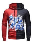 ieftine Maieu & Tricouri Bărbați-Bărbați Activ / Șic Stradă Mărime Plus Size Zvelt Pantaloni - Bloc Culoare Imprimeu Roșu-aprins / Capișon / Sport / Manșon Lung / Primăvară / Toamnă