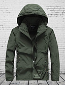 cheap Men's Pants & Shorts-Men's Military Plus Size Jacket - Solid Colored, Mesh Hooded / Long Sleeve