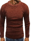 cheap Men's Sweaters & Cardigans-Men's Daily Basic Lace up Solid Colored Long Sleeve Slim Regular Pullover, Round Neck Fall / Winter Black / Camel / Gray L / XL / XXL