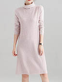 cheap Sweater Dresses-Women's Basic Sweater Dress - Solid Colored Turtleneck
