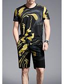 ieftine Maieu & Tricouri Bărbați-Bărbați Rotund Tricou Bumbac Geometric / Manșon scurt