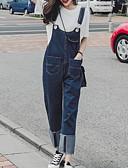 tanie Damskie spodnie-Damskie Podstawowy Luźna Kombinezon Spodnie - Solidne kolory Niebieski
