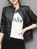 cheap Men's Blazers & Suits-Women's Daily / Going out Street chic / Sophisticated Spring / Fall & Winter Plus Size Short Leather Jacket, Solid Colored Round Neck Long Sleeve PU Black XL / XXL / XXXL